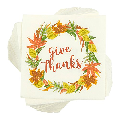 Blue Panda 100-Pack Cocktail Napkins - Thanksgiving Give Thanks Disposable Paper Party Napkins with Autumn Leaves Design, Perfect for Luncheons, Dinners, and Celebrations, 5 x 5 Inches Folded]()