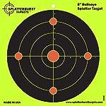 Splatterburst Target - 8 inch Bullseye Reactive Shooting Target - Shots Burst Bright Fluorescent Yellow Upon Impact - Gun - Rifle - Pistol - AirSoft - BB Gun - Pellet Gun - Air Rifle