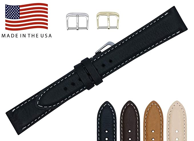 4df07a893 16mm Black Soft Genuine Leather Watch Strap Band – American Factory Direct  - Gold & Silver