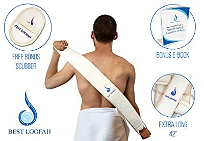 """Loofah Back Scrubber Body Scrubber Super Long 42"""" w/ FREE Exfoliating Loofah Pad Reaches Your Entire Back, Exfoliates, Stops Itching, Makes Skin Healthier, Treats Acne, For Men&Women From Best Loofah"""