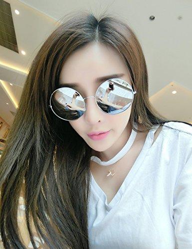protection ressort Lennon polarisées LVZAIXI en charnière ronde Circle avec lunettes Silver cadre Couleur de Multicolore métal Vintage à Classique de XwvwqR