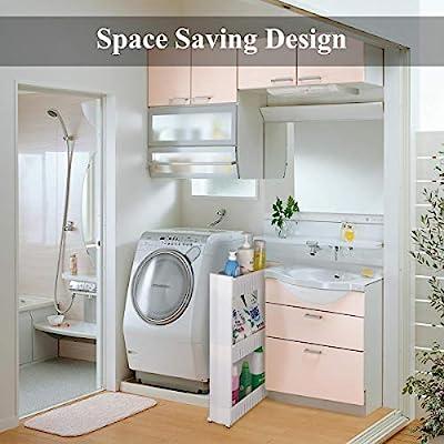 Amazon Com Home Man Laundry Room Organizer Mobile Shelving Unit Organizer With 3 Large Storage Baskets Gap Storage Slim Slide Out Pantry Storage Rack For Narrow Spaces Furniture Decor