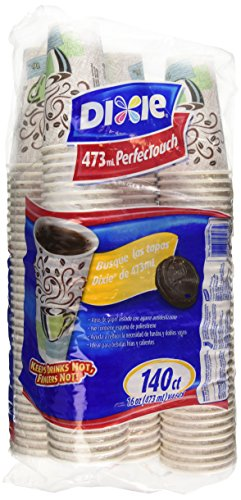 Dixie Perfectouch Insulated Paper Hot Cup, Coffee Haze Design, 140 Count