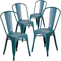 Flash Furniture 4 Pk. Distressed Kelly Blue-Teal Metal Indoor-Outdoor Stackable Chair