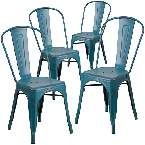 Flash Furniture 4 Pk. Distressed Kelly Blue-Teal Metal Indoor-Outdoor Stackable Chair by Flash Furniture