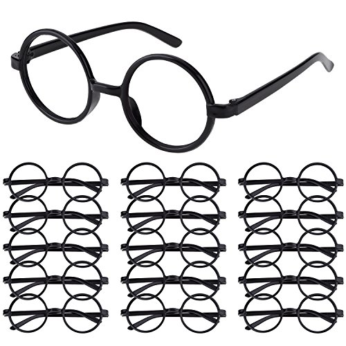 Costumes And Party Supplies (Shappy 16 Pack Plastic Wizard Glasses Round Glasses Frame No Lenses for Halloween Costume Party Supplies (Black))