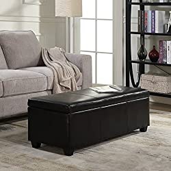 "Belleze 48"" inch Long Rectangular Upholstered Storage Elegant Ottoman Bench, Black"