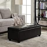 Belleze 48'' inch Long Rectangular Upholstered Storage Elegant Ottoman Bench, Black
