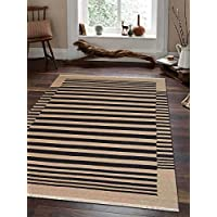 Rugsotic Carpets Hand Woven Kelim Woolen 3 x 5 Contemporary Area Rug Cream Charcoal D00125 With Fringe