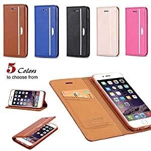 Cell Buddy 5Pcs/Lot Ultra Thin Leather Case For Apple iphone 6 4.7 Inch & Iphone6 Plus 5.5 Inch Original Fashion Flip Phone Cover Wholesale --- Color:Brown For I6 Plus