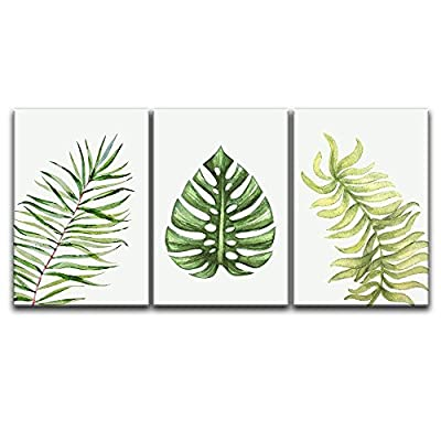 3 Panel Canvas Wall Art - Watercolor Style Tropical Leaves - Giclee Print Gallery Wrap Modern Home Art Ready to Hang - 24