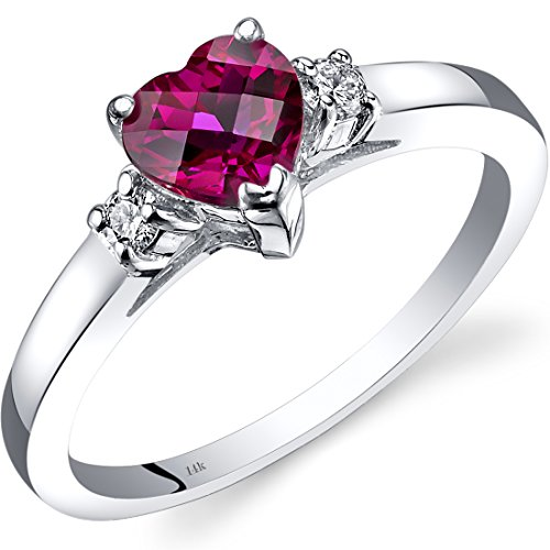14K White Gold Created Ruby Diamond Heart Ring 1.00 Carat (Ring Diamond Ruby Heart)