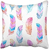 Throw Pillow Cover Square 18x18 Inches Blue American with Colorful Watercolor Feathers Hand Exotic Tribal Boho Aztec Perfect Pink Antique Polyester Decor Hidden Zipper Print On Pillowcases