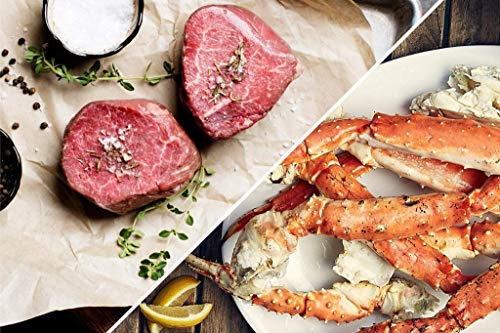 Alaskan King Crab Surf and Turf Dinner for Two, Red King Crab Legs, Fillet Mignon, Thick Cut Bacon - Overnight Shipping Monday - Thursday