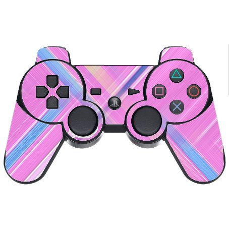 Pink Crossing Pattern PS3 Dual Shock wireless controller Vinyl Decal Sticker Skin by Moonlight Printing ()