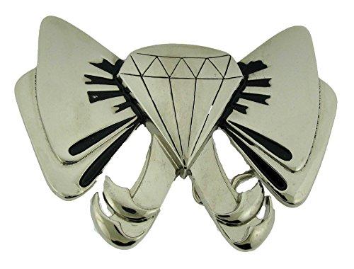 (Bow Tie Diamond Belt Buckle Silver Metal Fashion Costume Unisex Rock Rebel Logo )