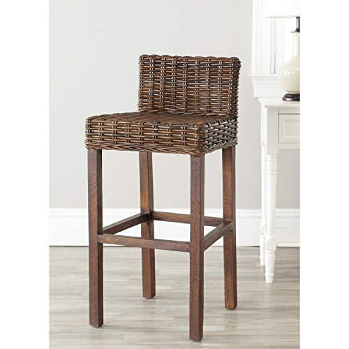 Safavieh Home Collection Cypress Cappuccino Wicker 30-inch Bar Stool (Stool Seagrass)
