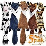 SHARLOVY Dog Squeaky Toys 5 Pack, Pet Toys Crinkle Dog Toy No Stuffing Animals Dog Plush Toy Dog Chew Toy for Large Dogs…