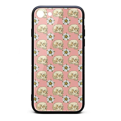 Xanx Smon iPhone 6 Plus Case, iPhone 6S Plus Case Pink Skull Cross with Rose Flower Soft Silicone Bumper 9H Tempered Glass Back Cover Compatible iPhone 6/6S Plus ()