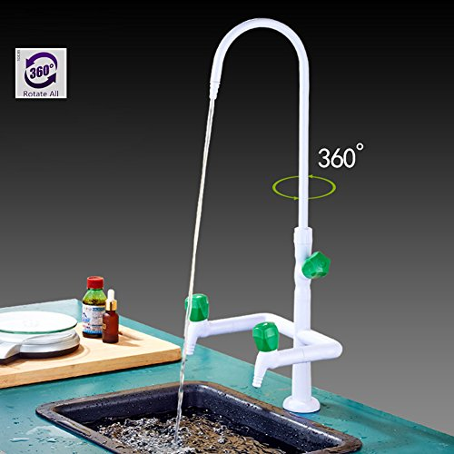 Takuey Copper Deck Mount Laboratory Faucet Water Taps Set Double Handle 3 Nozzle Hot and Cold Water Mix Chemistry Lab Faucet by Takuey