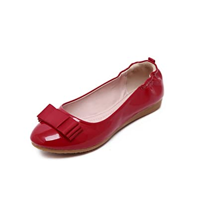 1TO9 Womens Bows No-Closure Low-Cut Uppers Urethane Ballet Flats