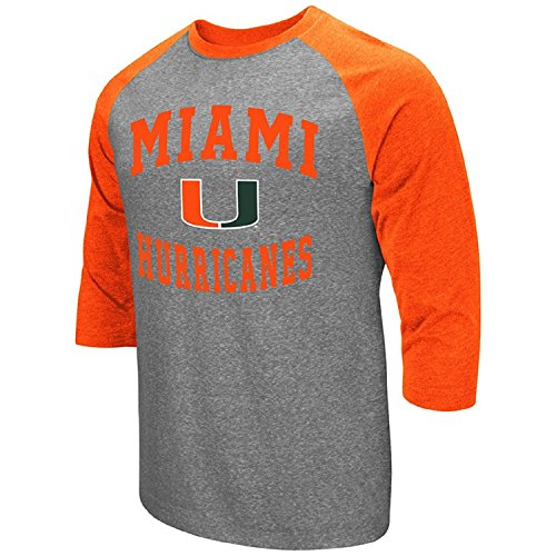 Colosseum Men's NCAA-Raglan-3/4 Sleeve-Heathered-Baseball T-Shirt-Miami -