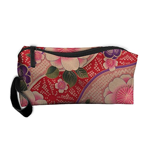 WEEDKEYCAT Kimono Flowers Pattern Design Travel Cosmetic Bag Pen Pencil Portable Toiletry Brush Storage,Multi-function Accessories Sewing Kit Bags Pouch Makeup Carry Case With ()