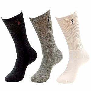 Polo Ralph Lauren Mens' Extended Socks Classic Cotton Crew Multi 3 pairs XL (12-17)