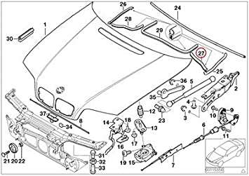 2000 bmw e46 engine diagram amazon com bmw genuine engine hood mounting parts engine  bmw genuine engine hood mounting parts
