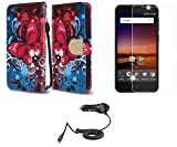 ZTE Blade Vantage | ZTE Avid 4 | ZTE Tempo X - Accessory Bundle: Synthetic Leather Wallet Carrying [Card Slots] Case - (Butterfly Symphony), Bubble-Free Glass Screen Protector, Car Charger, Atom Cloth