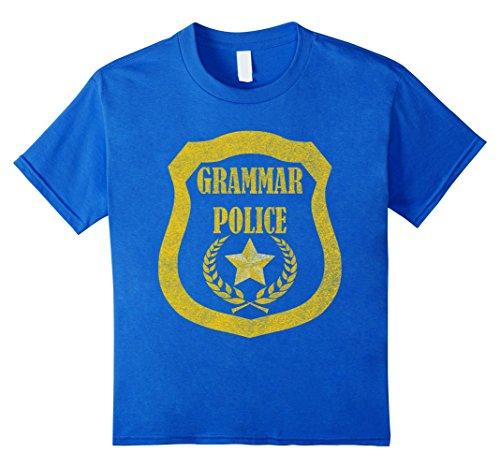 Kids Grammar Police Badge T-Shirt Grammar Fan Costume 4 Royal Blue - Grammar Girl Costume