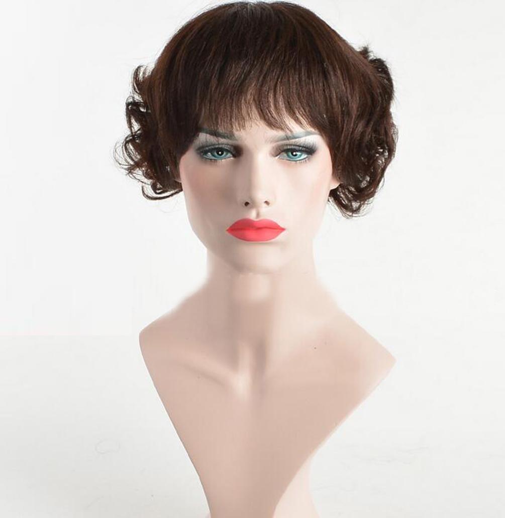 Live Wigs Europe And The United States mode courte Hair marron Tous les jeux de perruques authentiques