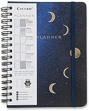 Planner Wire-o Astral Lua, Cicero, 3526, Azul, Mensal e Semanal, 75 Folhas, Papel Pólen 80g/m², Tamanho A5 (Gr
