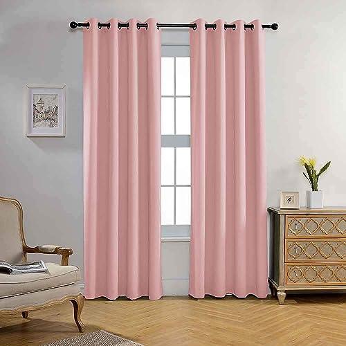 Miuco Blackout Curtains Room Darkening Textured Grommet Window Curtains
