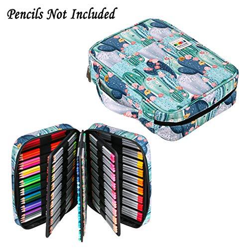 BTSKY Portable Colored Pencil Case - Colored Pencil Organizer Holds 220 Pencils or 148 Gel Pens Large Capacity Zippered Pencil Holder Gel pens Pen Bag for Prismacolor Crayola Watercolor Pens Cactus