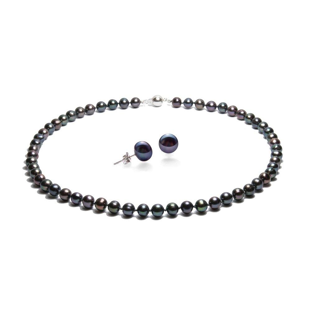 Blue Pearls Parure Collier et Boucles d'oreilles Perles de Culture Noir et Argent 925 BPS 0011-0111 Y Noir