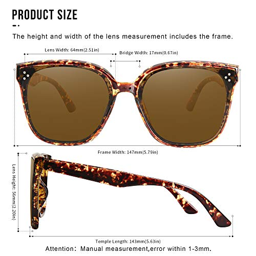 Oversized Sunglasses for Women Vintage Style Shades (Brown Lens Turquoise Frame)