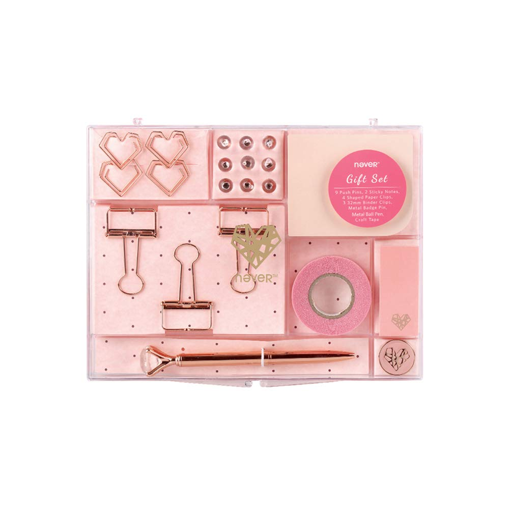 Rose Gold Tone School Office Stationery Gift Kit Desktop Supplies Set of 21 Items Products (New Rose Gold)