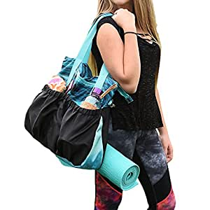 LotusandGo Yoga Bag or Yoga Tote, Stylish and Durable with Adjustable Straps For Yoga Mat or Towel, Many Pockets Including Padded Tablet Compartment.