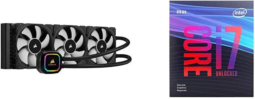 Corsair iCUE H150i RGB Pro XT, 360mm Radiator, Triple 120mm PWM Fans, Advanced RGB Lighting and Fan Control with Intel BX80684I79700KF Intel Core i7-9700KF Desktop Processor 8 Cores