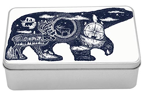 Ambesonne Polar Bear Tin Box, Boho Tattoo Art Style Animal Silhouette with Wildlife Elements and Compass, Portable Rectangle Metal Organizer Storage Box with Lid, 7.2