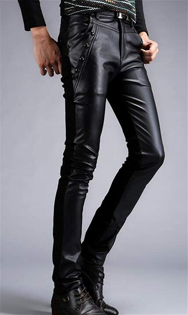 Lutratocro Men Fashion Motorcycle Faux-Leather Skinny Splice Long Pants