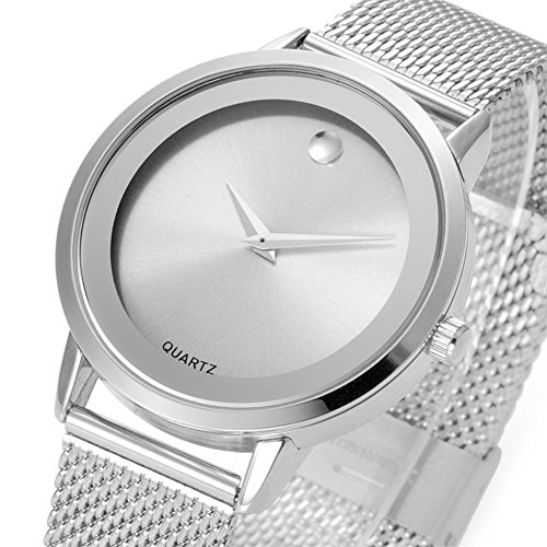 Ladies Analog Quartz Watches Mesh Steel Bracelet Silver Watch Women Dress Watches Classic Simple Design Waterproof ()