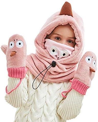Winter Baby Kids Girls Boys Hats Warm Scarf Caps Plush Ear Protect Gift Set-Pink