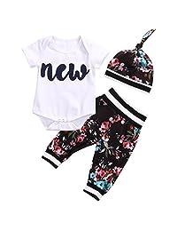 3PCS Infant Baby Girls New Print Romper Tops+Floral Pants+Hat Outfits Set