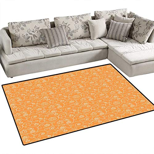 Harvest Room Home Bedroom Carpet Floor Mat Pattern with Pumpkin Leaves and Swirls on Orange Backdrop Halloween Inspired Floor Mat Pattern 40