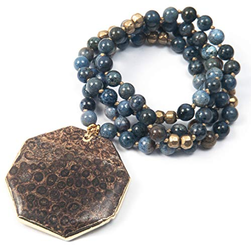 24k Gold Plated Fossilized Coral Pendant on Blue Dumortierite Knotted Necklace - 33 Inches Long Handmade Necklace by Miller Mae Designs