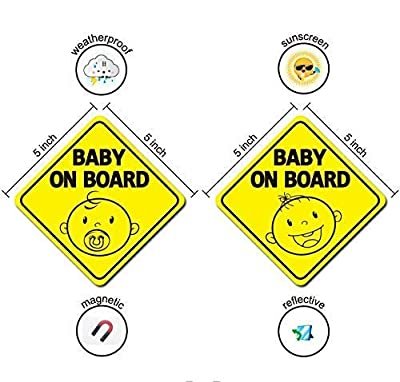 Baby On Board Sign Magnet Sticker for Car, Magnetic and Reflective Kid Safety Cute Decal Design, US Department of Transportation Recommend Color & Shape