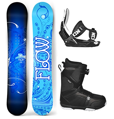 's Complete Snowboard Package Flow Bindings Flow BOA Boots - Board Size 140 (Boot Size 6) ()