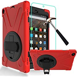 Gzerma Hybrid Case for Amazon Fire HD 8 Tablet, 3in1 [Impact Resistant] Full Body Rugged Protective Cover, Kickstand, Hand Strap, Screen Protector For All-New Kindle Fire HD8 (2016 6th), Red